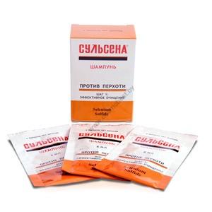 """Shampoo """"Sulsena"""" for hair against dandruff (sachet of 8 ml) from Amalgam Lux"""