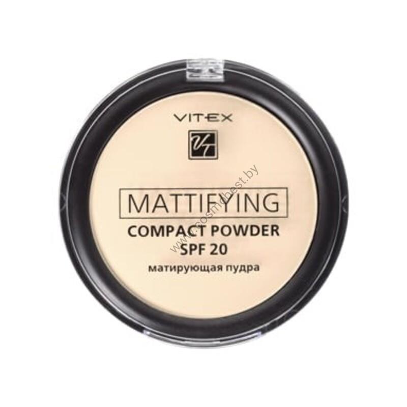 Матирующая компактная пудра для лица Mattifying compact powder SPF20, тон 01 Porcelain от Vitex