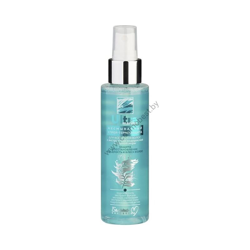 Несмываемый спрей-термозащита для всех типов волос с экстрактами водорослей и черной икры от Белита-М